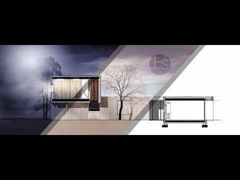 Section architecture rendering by Photoshop _ Midnight scene