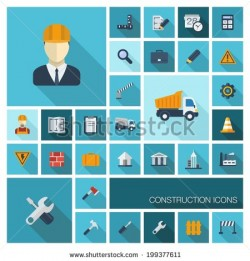 Vector flat colored icons set with long shadows. Abstract background with industrial, architectu ...