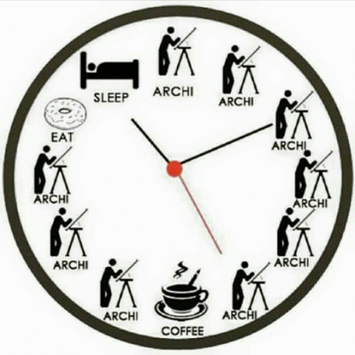 Architect Student perfect clock in a day of architecture student | arch-student