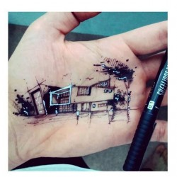 Architectuiral Sketch on Hand by Hand