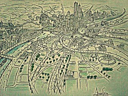 Architectural top perspective of the City drawing