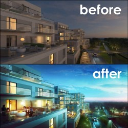 Before – After Architectural Post Production Render