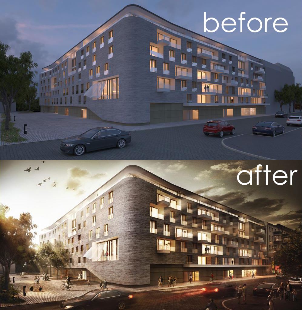 Architectural visualisation post production before - 3d architectural visualization ...