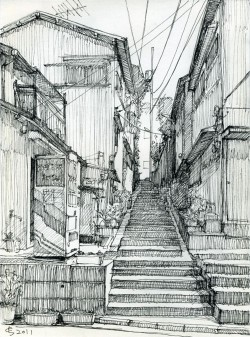 Architectural Sketches – Back alley. Sketch by Suzuken