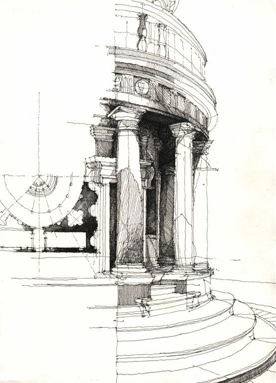 Architectural sketches freehand sketches art black and Online architecture drawing