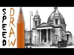How to draw architecture (zoom and details) – Three Crosses Square Speed Drawing