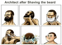 Architect after shaving the beard