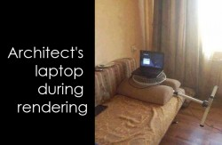 Architect's laptop during rendering