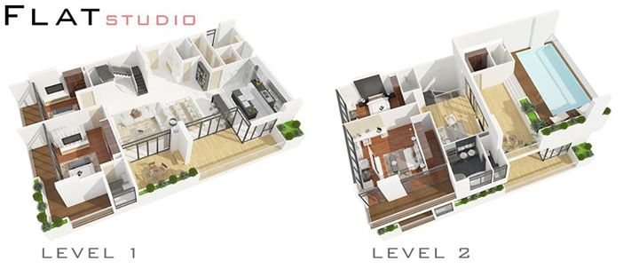 Penthouse Floor Plan 3d Rendering Arch