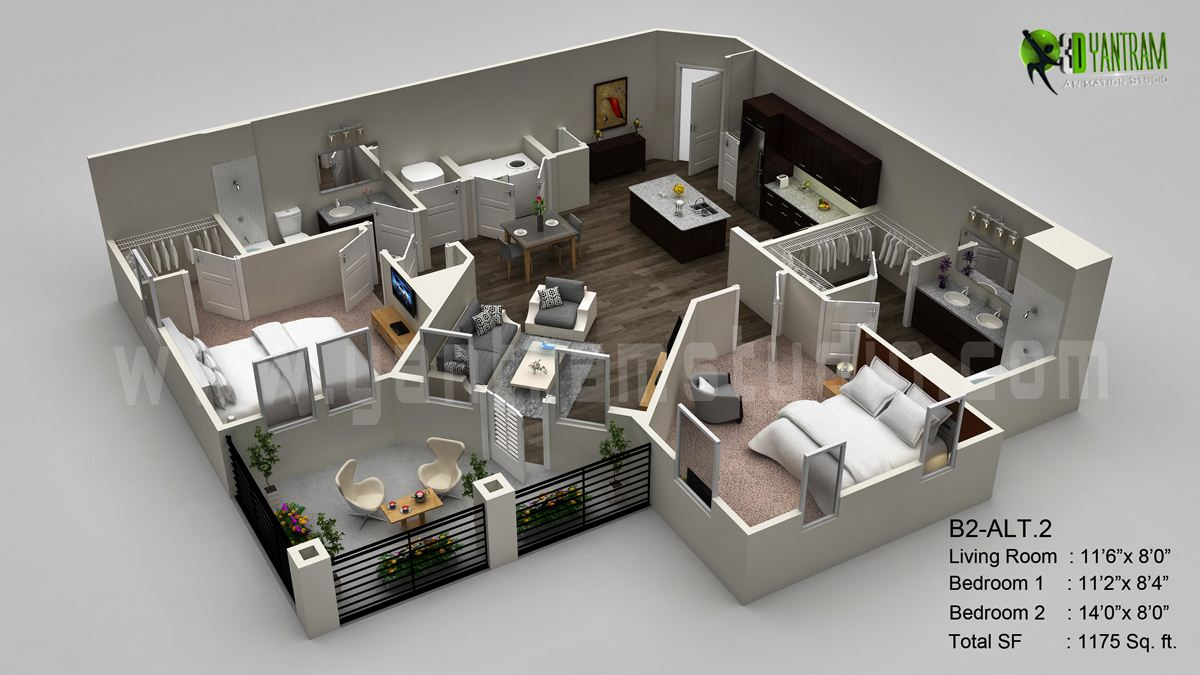 Delightful Www.yantramstudio.com. 3D Floor Plan Visualization