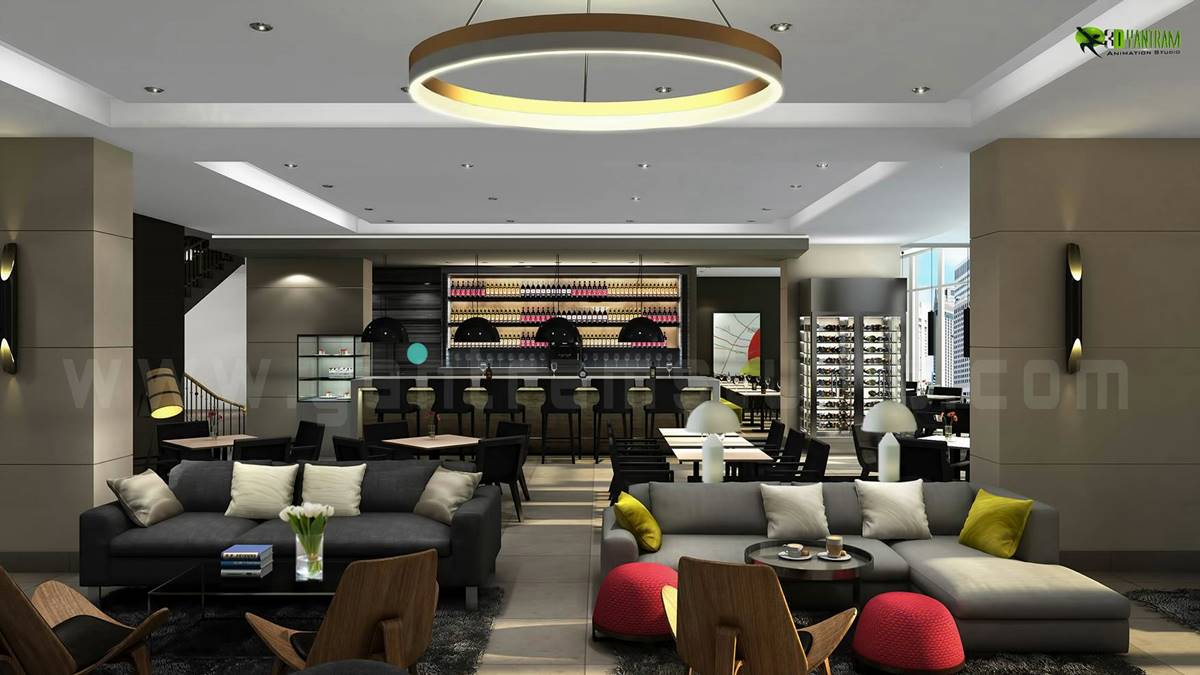 Yantramstudio Beautiful Living 3D Hotel Bar Interior Design View