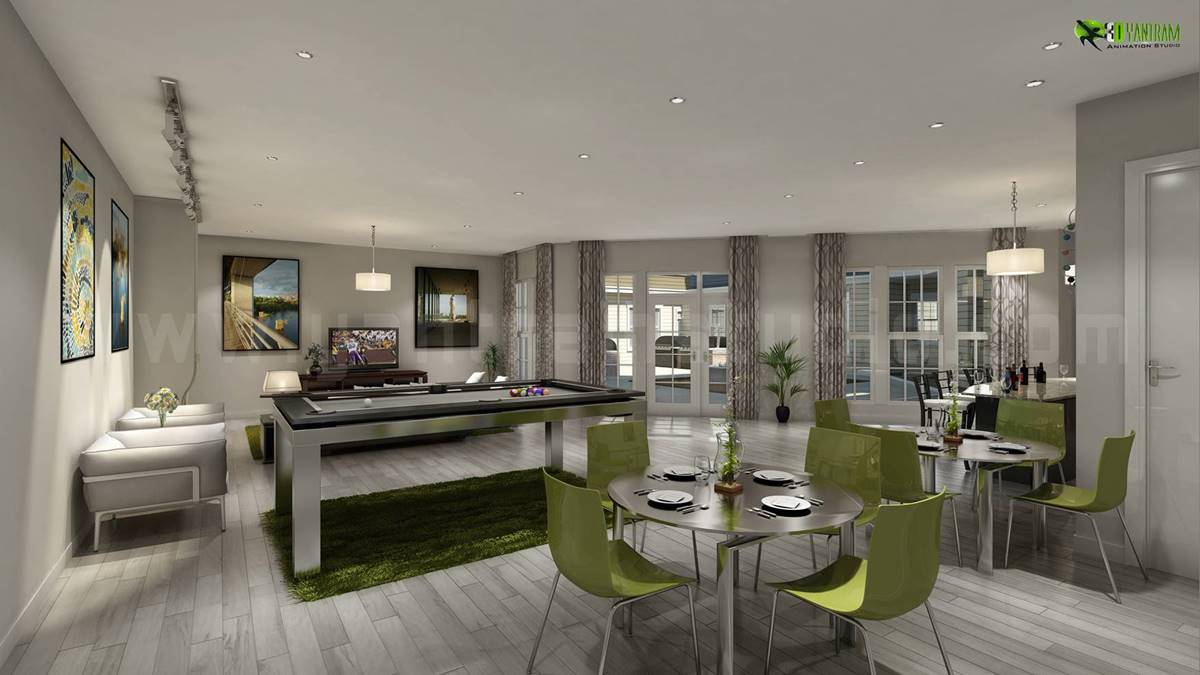 Club House Interior Design Rendering UK | ARCH-student.com