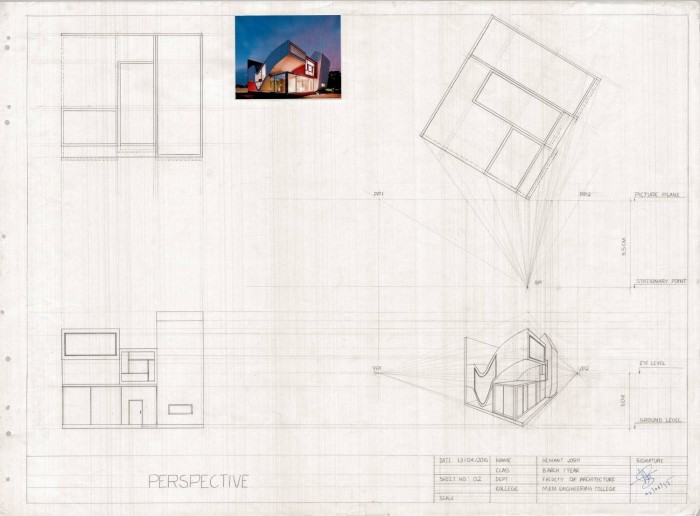 A 2 point perspective drawing of a randomly picked residence, using the point method.