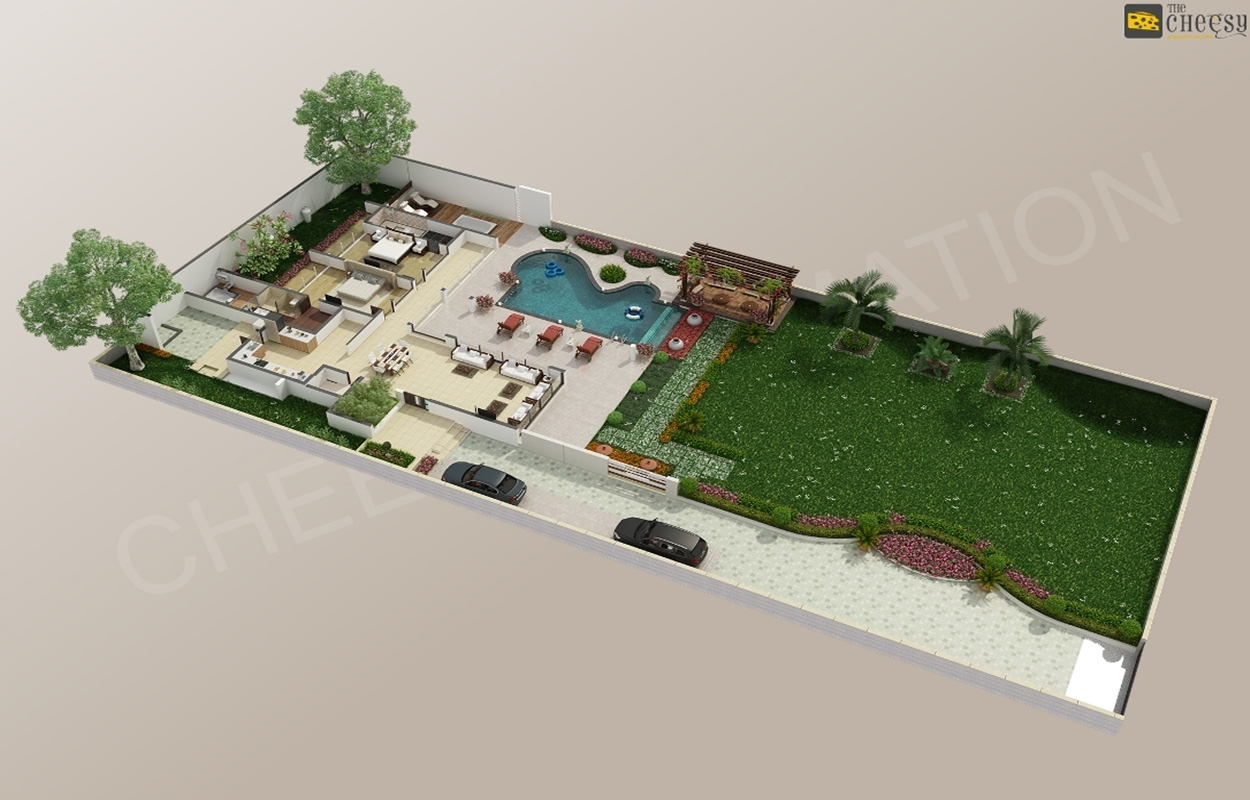 3D Floor Plan Home Hotel Villa Rendering