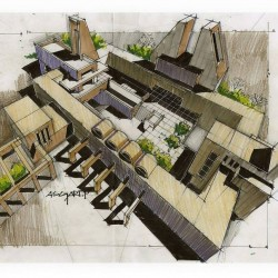Architectural Drawing Aerial view