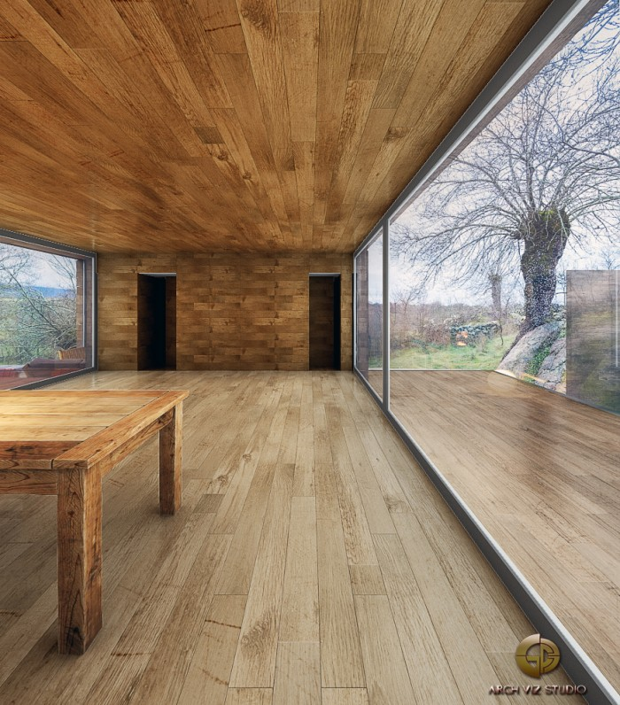 """Cabin With Sliding Glass Interior Walls And Timber Decks"