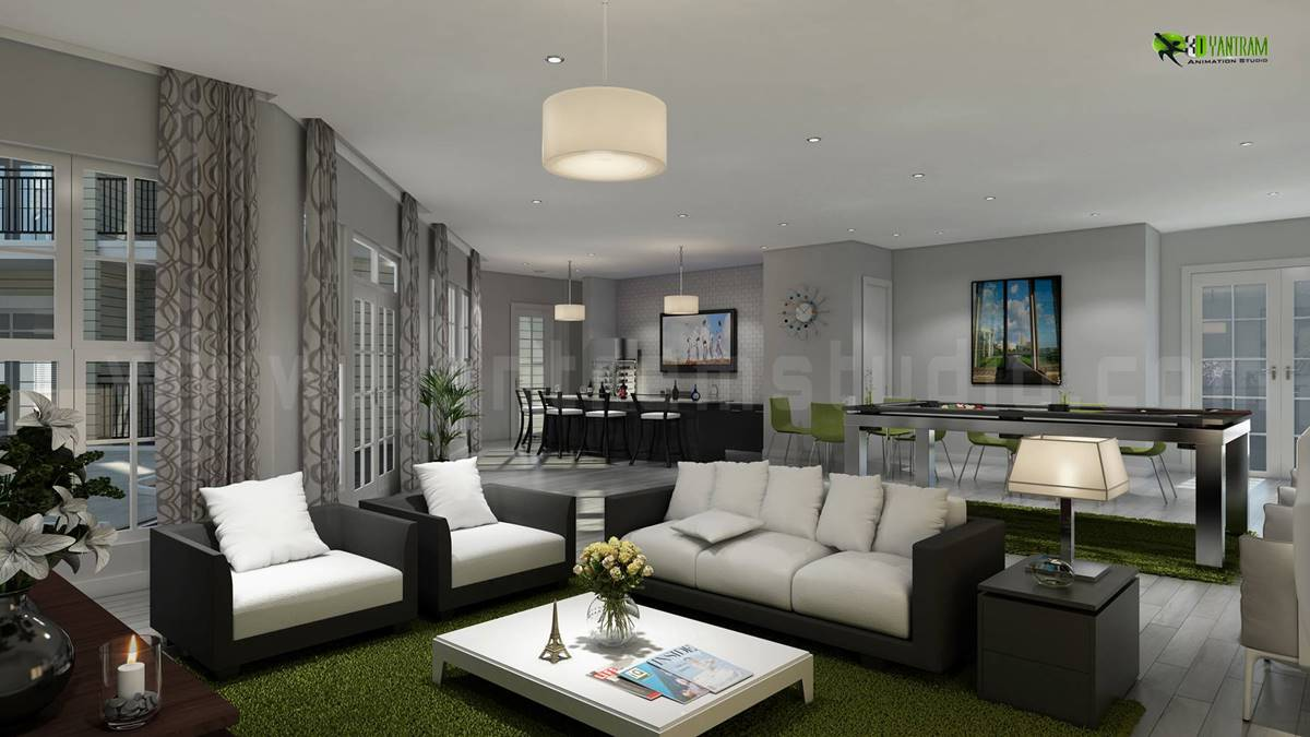 Interior Design Rendering for Club House Living Room and Kitchen