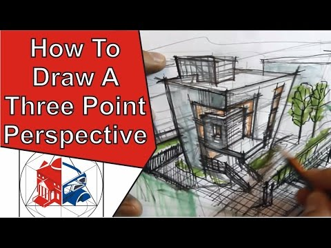 How To Draw A Three Point Perspective Of A House