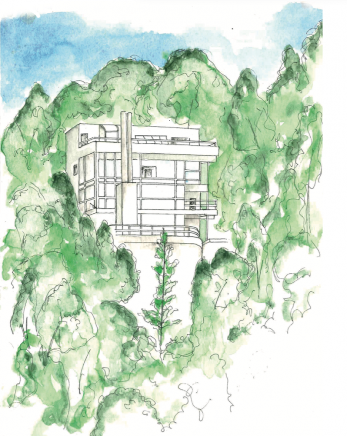 Douglas house by Richard Meier watercolour