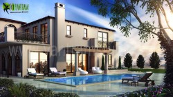 3D Exterior Modeling Pool View Washington