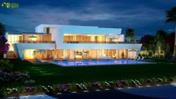 3D Exterior Night View Pool Design Qatar