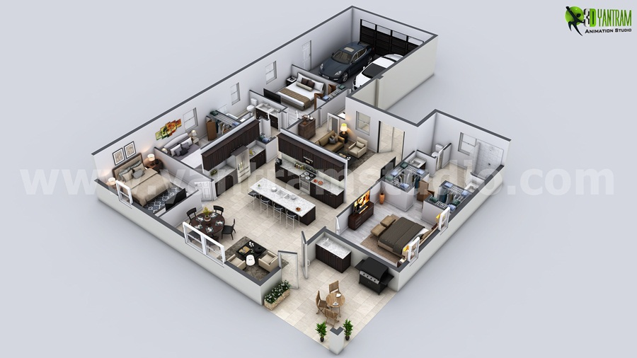 modern house 3d floor plan - 3d Plan House