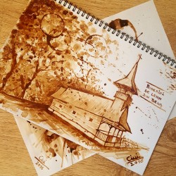 Romanian Traditional Wood Church – Coffee Painting