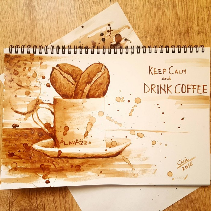 Keep Calm and Drink Coffee – Coffee Painting