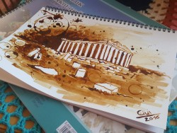 Greek Temple – Coffee Painting