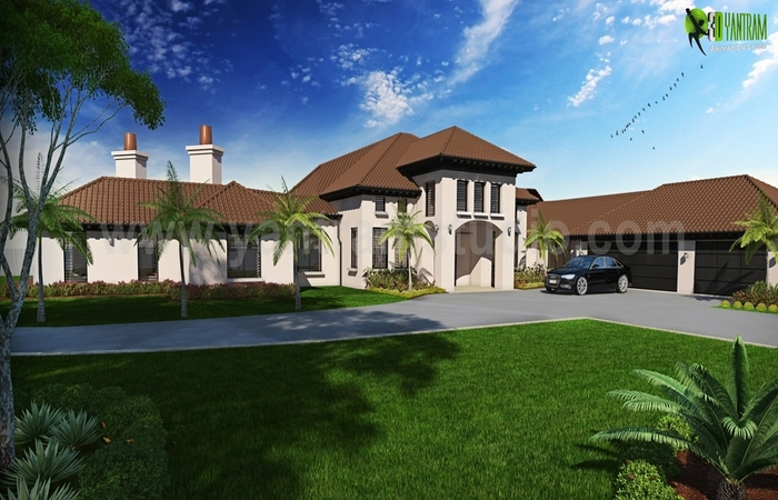 Amazing Design of Dream House Exterior Rendering Services