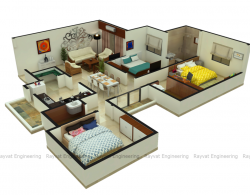 3D Floor Plan Design Services, 3D Floor Plan Rendering India