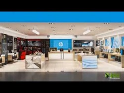 3D Interior Walkthrough Animation for HP (Hewlett-Packard) Retail Show Room | HP publication booth