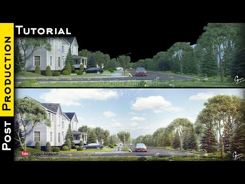 Architectural Visualization Tutorial Photoshop Exterior Post Production – YouTube