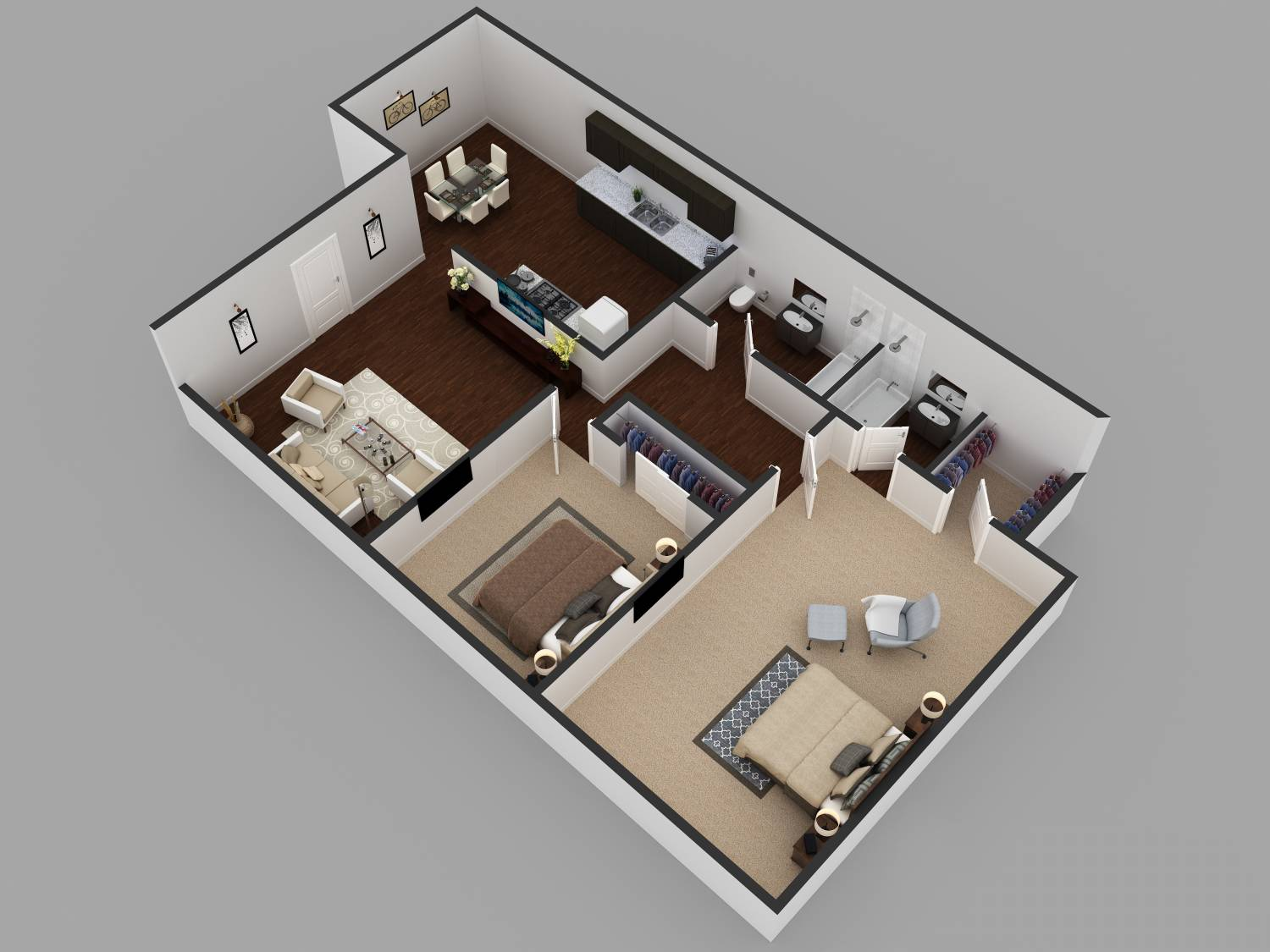 2Bhk Residential Modern House Floor Plan ARCH studentcom