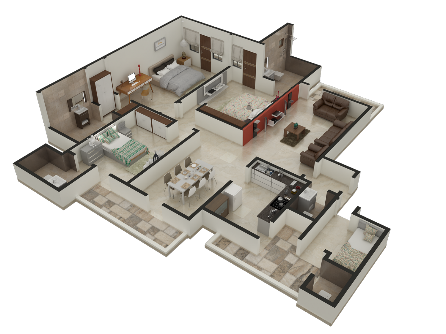 3d House Designs And Floor Plans 4 Bedroom House Floor