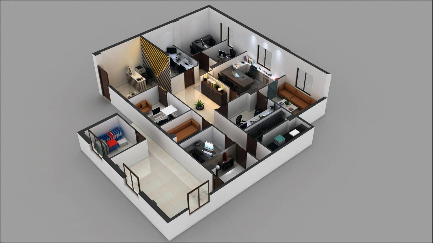 3d commercial office floor plan design arch for Commercial floor plans