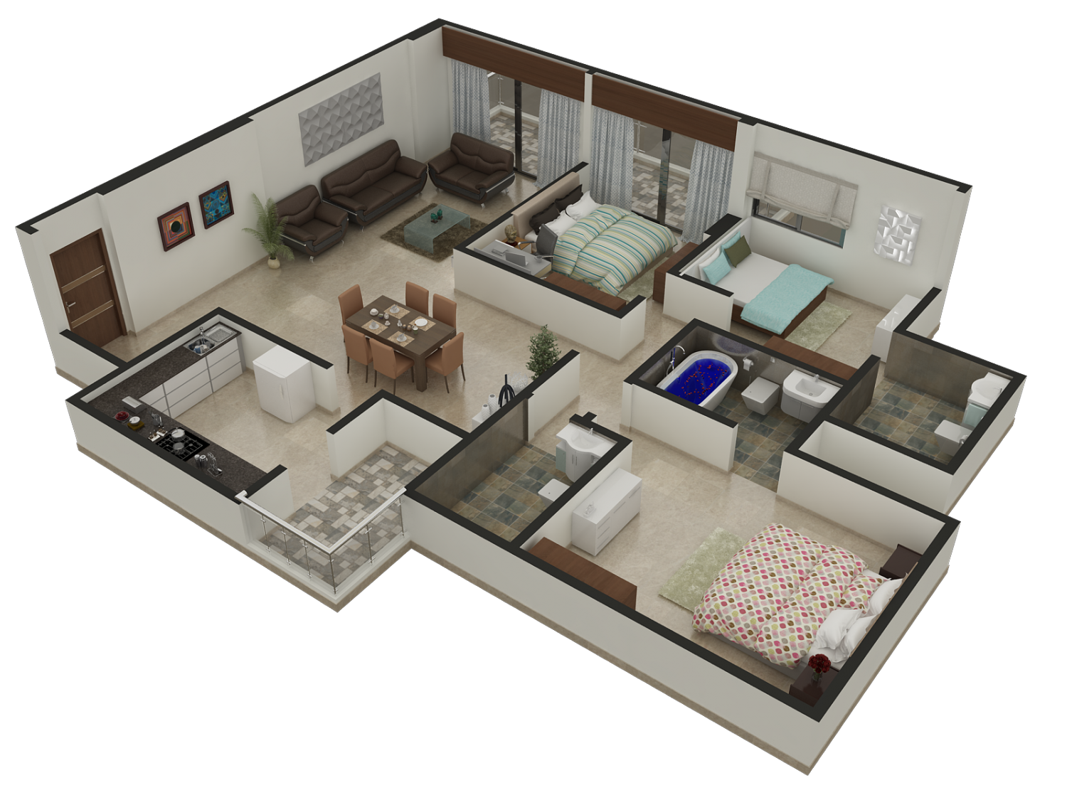 Floor Plans For 3 Bedroom Apartments Interactive 3d Floor Plan Arch Student Com