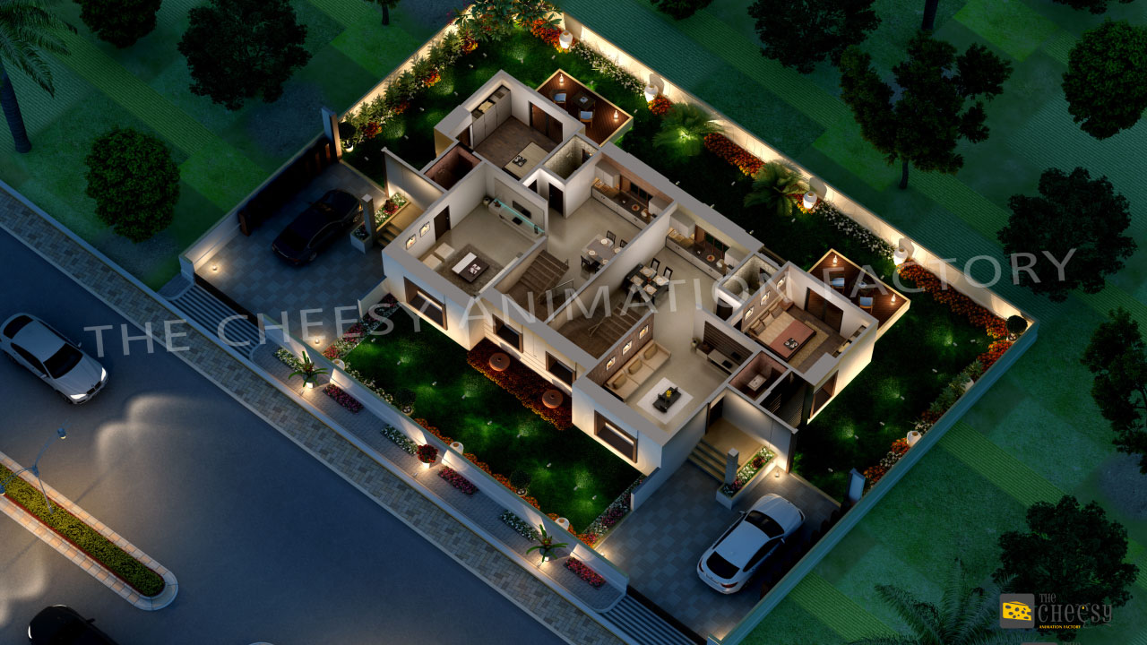 3d villa floor plan studio arch for One floor house design plans 3d
