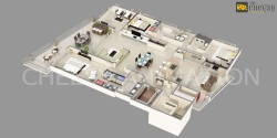 3D Building Floor Plan India