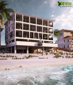 Beach Side Exterior House Rendering by 3D Yantram Architectural Modeling Firm Boston