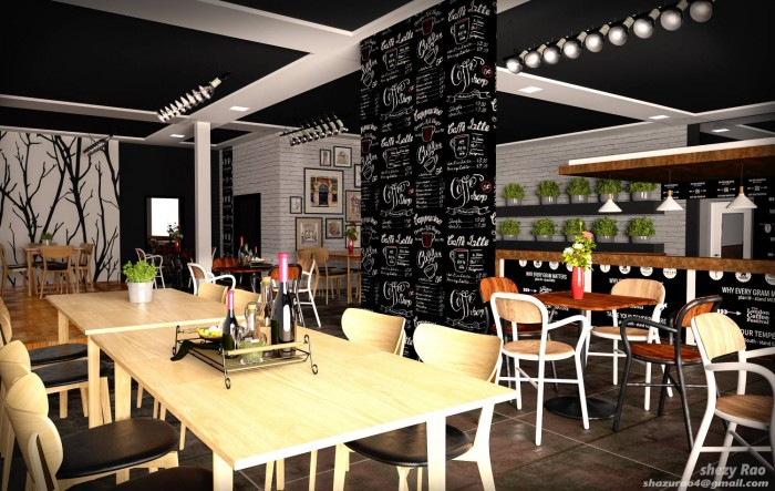commercial coffeee bar 3D interior