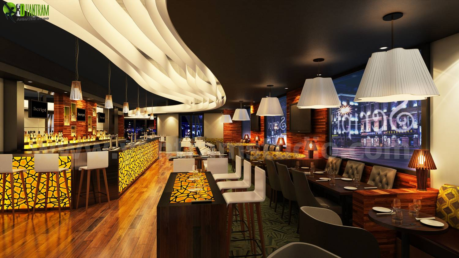 Amazing Design Of Bar 3D Interior Night View Rendering Liverpool