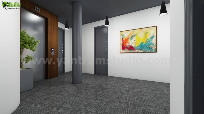 An Inspiration for 3D Interior Lobby Rendering Concept Idea Melbourne