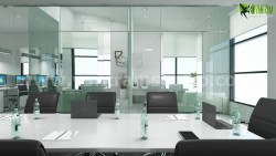 Commercial 3d interior rendering design Conference area by Yantram interior design firms Atlanta ...
