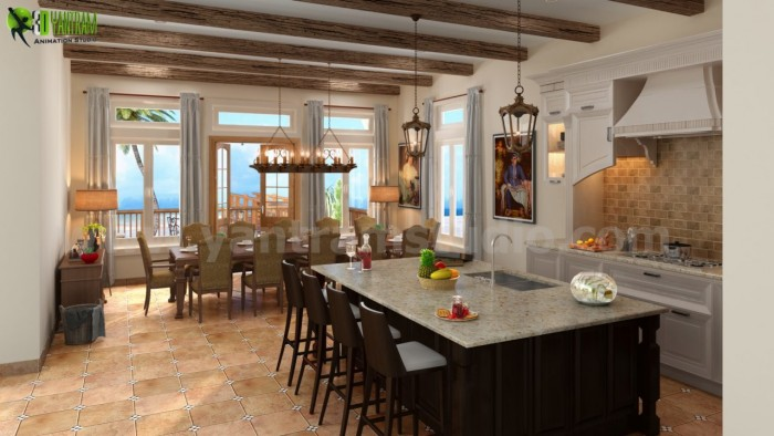 Stylish Residential Kitchen 3d Interior Rendering Services Washi