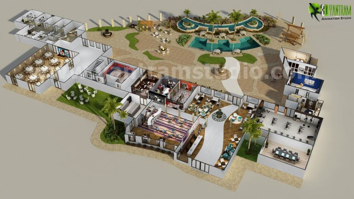 3d resort site plan layout concept design by yantram 3d for Site plan design software