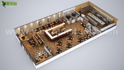 Fully Modern Bar 3D Floor Plan Design Ideas By Yantram architectural studio Los Angeles, USA