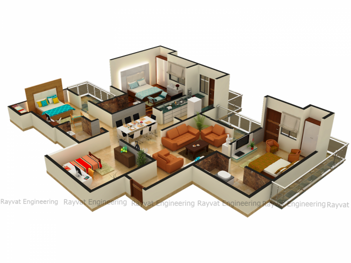 3D Floor Plan Rendering