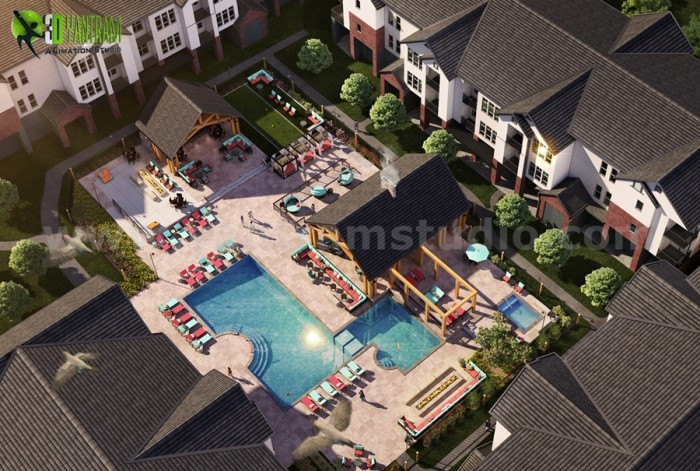 Birds Eye View Modern Pool Design Rendering Ideas by Yantram architectural rendering service Ams ...