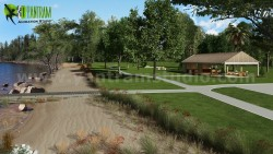 Recreation Area, River side Architecture Rendering Ideas by Yantram architectural visualization  ...